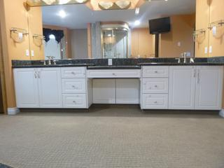 133in 3-Section Bathroom Vanity Set C/w Blue Pearl Granite Counter Top And (2) Kohler Hexagonal Sinks, Faucets And Towel Hanger And 15in Glass Shelf *Note: Buyer Responsible For Load Out, Located Offsite For More Info Contact Shazeeda @780-721-4178***