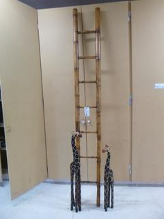 98in Bamboo Decorative Ladder C/w 32in Giraffe And 40in Giraffe **Note: Buyer Responsible For Load Out, Located Offsite For More Info Contact Shazeeda @780-721-4178**