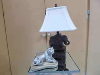 Elephant Lamp C/w Tiger Statue **Note: Buyer Responsible For Load Out, Located Offsite For More Info Contact Shazeeda @780-721-4178**