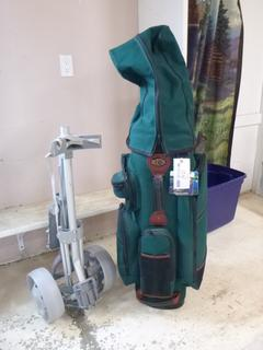 Burton Travel Golf Bag C/w Nib Lock, Assorted Golf Clubs And Golf Bag Cart **Note: Buyer Responsible For Load Out, Located Offsite For More Info Contact Shazeeda @780-721-4178**