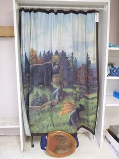 Mama Bear And Bear Cub Fabric Shower Curtain C/w Bear Shower Hooks And Western Toilet Seat **Note: Buyer Responsible For Load Out, Located Offsite For More Info Contact Shazeeda @780-721-4178**
