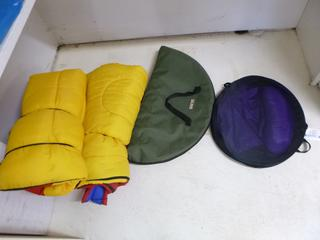(2) Coleman Sleeping Bags C/w Uline Pop-Up Beverage Holder **Note: Buyer Responsible For Load Out, Located Offsite For More Info Contact Shazeeda @780-721-4178**