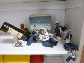 Qty Of (4) Sailor Wine Bottle Holders C/w Sea Side Ice Bucket **Note: Buyer Responsible For Load Out, Located Offsite For More Info Contact Shazeeda @780-721-4178**