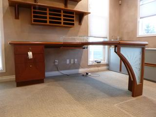 6ft X 6ft L-Shape Custom Macory Vanier Office Desk C/w 3-Drawer Cabinet, Glass Top Protector, Under Desk Keyboard Drawer And Custom Glass Computer Monitor Stand **Note: Buyer Responsible For Load Out, Located Offsite For More Info Contact Shazeeda @780-721-4178**