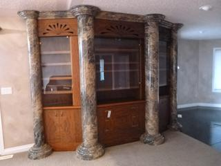 Custom Macory Vanier Built In China Cabinet C/w 3-Sections, Glass Shelving And 3-Drawer And 4 Custom Painted PVC Pillars **Note: Buyer Responsible For Load Out, Located Offsite For More Info Contact Shazeeda @780-721-4178**