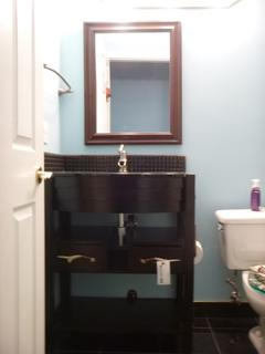 30in X 36in X 19in Bathroom Vanity And 30in X 24in Mirror Combination C/w Black Glass Sink/Counter Top Combination, Faucet And Black Glass Back Splash **Note: Buyer Responsible For Load Out, Located Offsite For More Info Contact Shazeeda @780-721-4178**