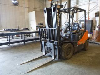 Doosan G30P-5 5,300lb Cap. Forklift C/w Class 3 Carriage, 48in Forks, Side Shift, 3-Stage Mast, LPG. Showing 4342hrs. SN MM00341. *Note: Possible Propane Leak, Brakes May Require Repairs, Muffler Requires Repair, Item Cannot Be Removed Until Noon November 13th Unless Mutually Agreed Upon*