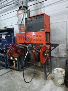 Hotsy Model 992SS 480V 2000PSI 3-Phase NG Pressure Washer C/w (2) Reels, (2) Pressure Wash Wands And Hose. Showing 4781.1Hrs. SN 11096230-162224 *Note: Buyer Responsible for Load Out*