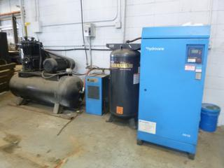 Hydrovane HV15 20Hp 115PSI 3-Phase Rotary Air Compressor C/w 6.5Hp 60Gal 125PSI Tank And DMC15 Controller. SN V15-00608-0801 *Note: Buyer Responsible for Load Out*