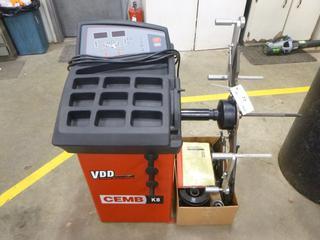 (1) CEMB Virtual Direct Drive Tire Balancer K8 c/w 110V, 1 PH