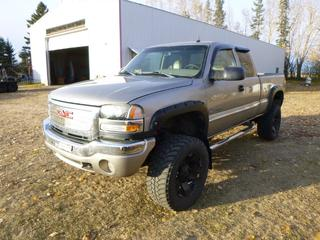 2003 GMC 2500 SLT 4X4 Extended Cab Pick Up c/w 6.6L Duramax Diesel, A/C, Leather, Showing 196,533 KMS, 5,117 Hours, GVWR 9,200 LB, 6 IN. Lift, Aftermarket Rims and Tires, 35x12.5x20 Tires At 40%, Rears At 50%, Front Axle Rating 4,670 LB, Rear Axle Rating 6,084 LB, VIN 1GTHK29183E163586