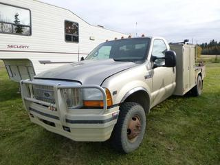 2001 Ford F-350 XLT 4x4 Welding Truck C/W 5.4 Triton V10, Manual, Showing 189,259 KMS, GVWR 5,080, LT 235/85R16 Front Tires At 50%, Rears At 75%, Front Axle Rating 2,358 KG, Rear Axle Rating 4,422 KG, Push Bar w/ Lincoln Classic II Welder, Showing 7,346 Hours, SN 308865, VIN 1FDWF37SX1EC46281