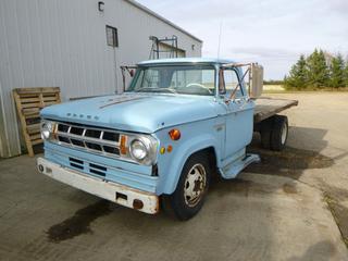 1969 Dodge Fargo M70 Dually Flat Deck Truck c/w 318-1, Showing 47,905, 7.50-17 Front Tires At 5%, Rears At 90% w/ Tilt Deck Hoist, VIN D3K2J19607