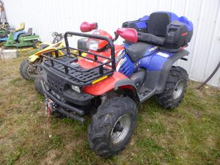 Polaris Sportsman 500 Quad c/w Storage Box and Seat, Front Rack, Winch, AT27x10-12 Tires At 80% *NOTE: No VIN, Starts With Boost*