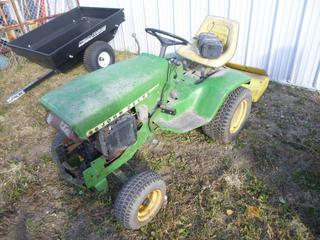 John Deere 140 T0586 Riding Lawn Mower, SN 051459M c/w 44 In. John Deere Rototiler, SN F033G381559M *Note: Parts Only*
