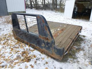 (1) Used, Flat Deck for Back of Pick up Truck, c/w Winch & Headache Rack, 8 Ft.2 In. x 8 Ft.4 In.