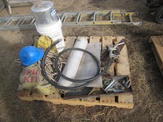 Pallet c/o Spill Kits, Rope, Hard Hat, Plastic Wrap, Roll of R-Foil, Pail Saws, Fuel Pump Handle & Metal Bar.