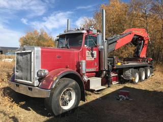 1979 Peterbilt 359S T/A Crane Truck c/w Cat 3406 Engine, Fuller Roadranger 15 Spd Trans, 4.62 Ratio, 6,804 Kg Front, 8,610 x 2 KG Rear Axles,  Palfinger P750, Remote Controls,  18' Deck, Outriggers, 425/65R22.5 Front, 11R22.5 Rear Tires, Showing 4,657 Hours, 634,631 Kms. S/N  119051. Repairs may be required, see photos