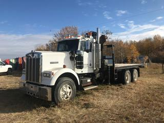 Kenworth W900B T/A Crane Truck c/w Cummins N14-460E Engine, Eaton Fuller 13 Spd Trans, Hiab 140AW Knuckle Crane, Ratio 4:11, 18' Deck, Pintle Receiver, 11R24.5 Rear Tires.  Showing 26,724 Hours, 338,729 Kms. S/N S926433.