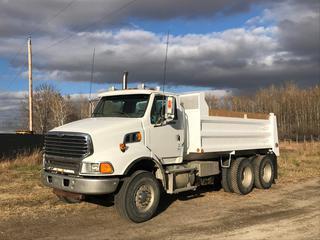 2008 Sterling LT9500 T/A Gravel Truck c/w 14.0L L6 Detroit Series 60, Auto, Air Ride Susp., 15' Box, 385/25R22.5 Front, 11R22.5 Rear Tires, Showing 184,127 Kms. S/N 2FZHAZCK48AZ933569. Rebuilt Status.