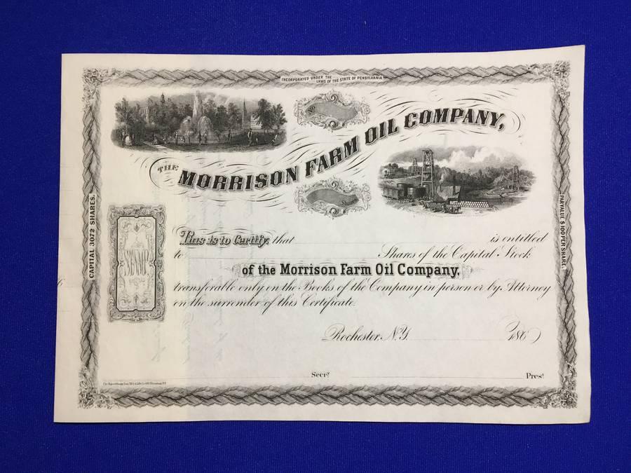 Morrison Farm Oil Company Stock Certificate.