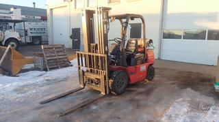 2011 EP CPQD25N-RW22-Y2 5000lb Cap. LP Lift Truck C/w 3-Stage Mast, Side Shift. Showing 1556hrs. SN 101155998 *Note: Item Cannot Be Removed Until 12PM February 5th Unless Mutually Agreed Upon*