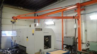 12ft Jib Crane C/w 1320lb Powerfist 110V 1250W Cable Hoist *Note: Buyer Responsible For Load Out*