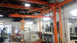 12ft Jib Crane C/w 115V Kito 1/4-Ton Chain Hoist *Note: Welded To Wall, Beam Will Need To Be Cut For Removal, Buyer Responsible For Load Out*