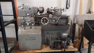 """Monarch Model 10""""EE C/w 12 1/2in Swing, 20in Between Centers, 8in 3-Jaw Chuck, 2in Bore, Exciter 3-Phase Adjustable Speed Power Unit And Aldris Model AX Tool Post *Note: Stand Not Included, Running Condition Unknown, Buyer Responsible For Load Out*"""