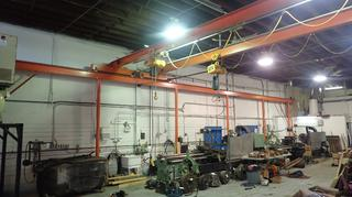 55ft X 27 1/2ft X 160in Overhead Crane w/ (2) Cranes And (2) Kito Electric Chain Hoists *Note: Buyer Responsible For Load Out*