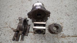 Dividing Head w/ 8in 3-Jaw Chuck, 2 1/2in Bor C/w Plates, Custom Built Bar Clamps And Tool Holder