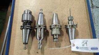 Pioneer Cat 40 SM100-0200 Tool Holder C/w Pioneer Cat 40 ER16H-0250 Tool Holder, GS Cat 40 3/4-3.00in Tool Holder And Kennametal CV40JT3278 Tool Holder w/ 0-1/2in Superchuck Insert