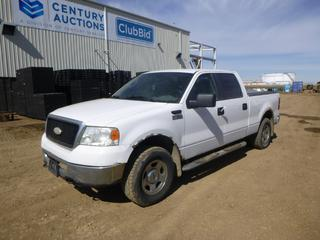 2007 Ford F-150 XLT 4X4 Crew Cab c/w Triton 4.6L, A/T, A/C, Showing 273,055 Kms, Brake Force Trailer Brake System, Cargo Bed, Retrax Box Cover, 6 Ft. 7 In. Box, 265/70R17 Tires at 60%, VIN 1FTRW14W17FB57960 *Note: Damage and Rust*