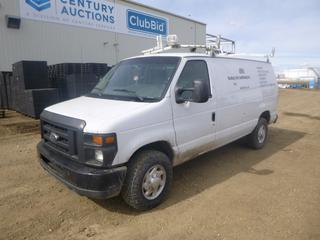 2010 Ford E-350 Super Duty Cargo Van c/w 5.4L, A/T, A/C, Showing 310,334 Kms, 8,078 Hours,  Roof Rack, Spot Light, 245/75R16 Tires at 40%, VIN 1FTSE3EL3ADA70729 *Note: Damage On Passenger Mirror and Tail Light, Minor Rust*