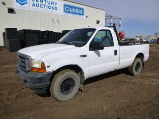 1999 Ford F-250 Regular Cab Pick Up c/w 5.4L Triton, A/T, A/C, Showing 213,149 Kms, 5,126 Hours, LT235/85R16 Tires at 75%, Headache Rack, Back Up Alarm, 8 Ft. Box, VIN 1FTNF20L6XEA73171 *Note: Body Damage, Rust*
