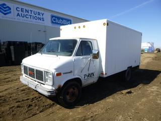 1986 GMC Vandura 3500 Cube Van c/w 350, A/T, A/C, Showing 223,247 Kms, GVWR 4,536 KG, 146 In. W/B, 8.75R16.5LT Tires at 20%, Dually Rears at 30%, Front Axle Rating 1,769 KG, Rear Axle Rating 3,266 KG, Shelving/Storage In Back, 13 Ft. 11 In., VIN 2GDHG31J1G4512446 *Note: Rust and Damage*