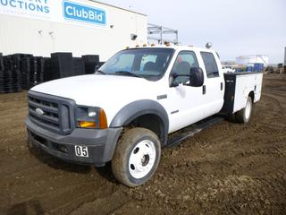 2005 Ford F-550 XL Super Duty 4X4 Utility Truck c/w 6.0L Power Stroke, Diesel, A/T, A/C, Showing 190,971 Miles, 8,296 Hours, GVWR 17,950 Lb, PTO, Beacons, Headache Rack, Storage Cabinet, 225/70R19.5 Tires at 50%, Rears at 40%, Front Axle Rating 7,000 Lb, Rear Axle Rating 13,660 Lb, 9 Ft. 9 In. Box, VIN 1FDAW57P65EC73209