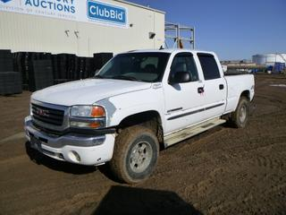 2006 GMC Sierra 2500 HD SLT 4X4 Quad Cab Pick Up c/w Vortec, A/T, A/C, Power Sunroof, Showing 425, 572 Kms, LT265/75R16 Tires at 40%, Pintle Hitch, VIN 1GTHK23U06F183459 *Note: Stiff Ignition, Difficulty Turning Key, Damage To Driver and Passenger Seat, Check Oil Message, Service Air Bag Message, Battery Not Charging Message*