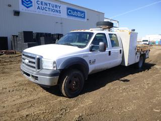 2006 Ford F-550 XLT Super Duty Utility Truck c/w Power Stroke Turbo V8, Diesel, 5 Speed Manual, Showing 215,201 Kms, 7,015 Hours, Manual Hub, Beacons, Storage Cabinet, 225/70R19.5 Tires at 40%, Dually Rears at 20%, VIN 1FDAW57P06ED41795 *Note: Damage and Rust, TBC Fault Code*