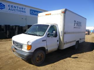 2006 Ford Econoline Cube Van c/w 5.4L, A/T, A/C, Showing 336,332 Kms, GVWR 10,000 Lb., 160 In. W/B, Loading Ramp, Storage and Shelving, LT225/75R16 Tires at 40%, Dually Rears at 60%, 15 Ft., VIN 1FDSE35L46HB21943 *Note: ABS and Engine Light On, Rust, Damage to Exterior and Interior*