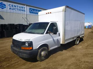 2005 Chevrolet Cube Van c/w 6.0L Vortec, A/T, A/C, Showing 201,026 Kms, GVWR 10,000 Lb., Walk Through Storage Shelves, LT225/75R16  Tires at 80%, Rears at 10%, Front Axle Rating 4,100 Lb., Rear Axle Rating 7,500 Lb., VIN 1GBHG31U151132580 *Note: Body Damage, Interior Damage, Minor Rust, Hole In Cube Floor*
