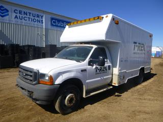 2001 Ford F-550 XL Super Duty Utility Truck c/w 6.8L Triton V10, Diesel, Showing 149,859 Kms, GVWR 17,500 Lb., 192 In. W/B, Walk Through Storage and Shelving, 225/70R19.5 Tires at 20%, Front Axle Rating 5,600 Lb., Rear Axle Rating 13,500 Lb., 15 Ft., VIN 1FDAF56S31ED31650 *Note: Rust, Damage to Exterior and Interior*