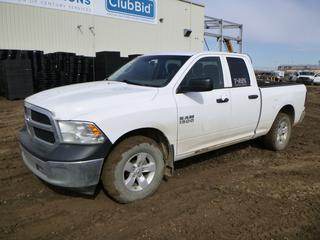 2013 Ram 1500 Crew Cab 4X4 Pick Up c/w 4.7L, A/T, A/C, Showing 375,300 Kms, 2,008 Hours, LT265/70R17 Tires at 40%, Rears at 30%, 6 Ft. 2 In. Box, VIN 1C6RR7FP8DS601507 *Note: Tail Lights Damaged, Hood Does Not Stay Open*