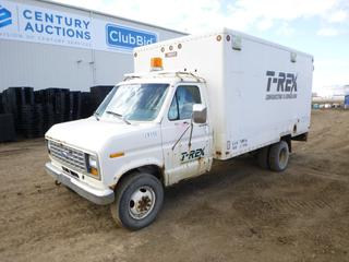 1988 Ford Cube Van c/w A/T, A/C, Showing 198,570 Kms, Walk Through Storage and Shelves, LT245/75R16 Tires at 10%, VIN 1FDKE30G3JHC09966 *Note: Rust and Damage To Exterior and Interior*