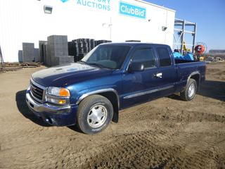 2003 GMC Sierra 1500 SLE Extended Cab Pick Up c/w 4.8L Vortec, A/T, A/C, Showing 187,715 Kms, 4,447 Hours, P255/70R16 Tires at 30%, 6 Ft. 6 In. Box, VIN 1GTEC19V53Z287577 *Note: Fuel Lock Out, ABS Light On, Rust and Damage*