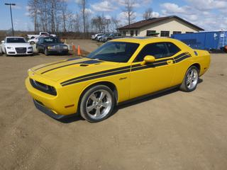 2010 Dodge Challenger RT c/w 5.7 Hemi V8, 6 Speed Manual, Showing 83,327 Kms, A/C, Fully Loaded, Leather, Power Sunroof, 265/35ZR20 Tires at 60%, AB Registered, VIN 2B3CJ5DTXAH159568