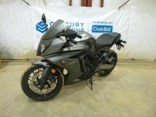 2014 Honda CBR 650F Motorcycle c/w 650, Manual, Showing 2 Kms, 120/70ZR17 Front Tire, 180/55ZR17 Rear Tire, VIN MLHRC7465F5000041 *Note: Smoke Damage*