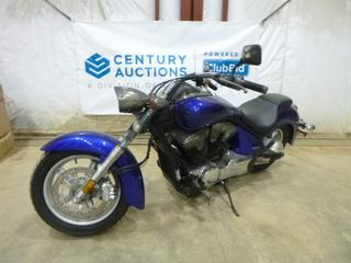 2015 Honda VT1300 CRAF Stateline Motorcycle c/w 1300, Showing 0 Kms, 140/80-17 Front Tires at 100%, VIN JH2SC6667FK500028 *Note: ABS Light On, Smoke Damage*
