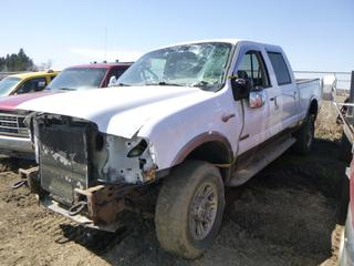 2005 Ford King Ranch F-350 Lariat Super Duty 4X4 Crew Cab Pick Up c/w 6.0L Power Stroke, Diesel, Power Sunroof, LT275/70R18 Tires at 40%, VIN 1FTWW31P15EA60630 *Note: Parts Only, No Key, Body Damage* **Part of 4 U Equipment Dispersal**