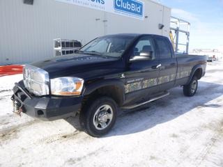 2006 Dodge Ram 2500 4X4 Pick Up Quad Cab, c/w Cummins 5.9L Diesel, A/T, Showing 341,643 Kms, Fully Loaded, 245/70R17 Tires at 70%, 8 Ft. Box, Spray In Box Liner, Iron Cross Front Bumper, 12,000 Lb Winch, Reese Trailer Brake System, VIN 3D7KS28CX6G167845